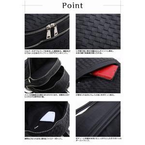 編み込みバックパック メンズバッグ ユニセックス かばん 鞄 カジュアル 大人仕様 リュックサック デイパック イントレチャート メッシュ ビジネスリュック|saganstyle|05