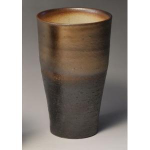 ビールグラス ビアマグ 陶器 萬古焼 泡立ちビアカップ 黒釉...