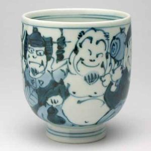 湯のみ 有田焼 手描き七福神大湯呑み 湯飲み茶碗