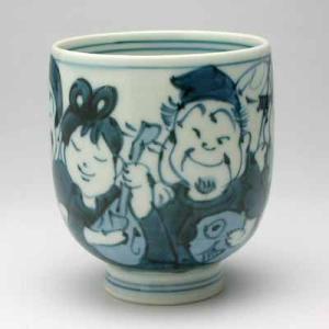 湯のみ 有田焼 手描き七福神小湯呑み 湯飲み茶碗