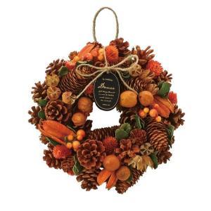 ハロウィン ナチュラルリース 25cm オータムオレンジ 415B アレンジメント 飾り 店舗 室内装飾 かわいい おしゃれ 秋リース