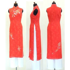 鮮やか赤が華麗な二枚仕立てノースリーブアオザイ!! SIZE S|saigon