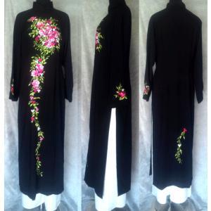 正統派 刺繍のブラックアオザイ!! SIZE 4XL|saigon