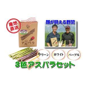 A-9 士別産:おがた農園直送品 おがたさんちの3色アスパラセット 2L〜Mサイズ込・約600g入・1箱|saijo
