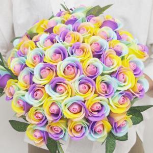 バラ 花束 ソープフラワー レインボーローズ お好きな本数で選べる 本数指定OK 造花 ブーケ 記念日 母の日 誕生日 ギフト|saika
