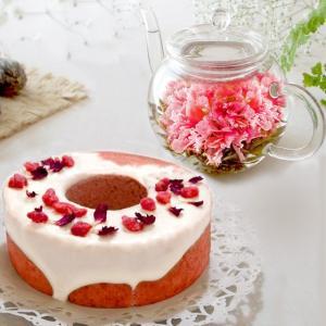 誕生日 ギフト お花のつぼみとティーポットとカーネーションバウムクーヘン カーネーション茶  工芸茶  結婚祝い  送別 卒業 入学|saika
