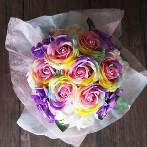 ソープフラワー レインボーローズ 花束 ブーケ ギフト プレゼント 造花 誕生日 記念日 母の日 送別|saika