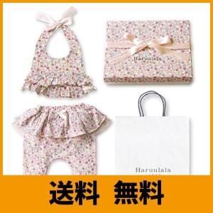 Haruulala Japan(ハルウララ) 出産祝い 女の子 オーガニックベビー服2点セット (スタイ+パンツ) (長袖_紙袋付き, 花たちの祝福)|saikuron-com