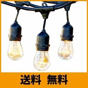 BRTLX ストリングライト 防雨型 15m 15個ソケット 18個フィラメント電球付き イルミネーションライト クリスマス ハロウィン 飾り 連結可|saikuron-com