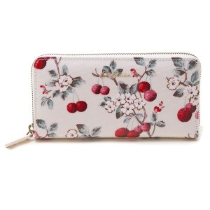 88fbb07403f5 キャスキッドソン ラウンドファスナー長財布 Cath Kidston CONTINENTAL ZIP WALLET 829953 PEARL  WHITE CHERRY SPRIG