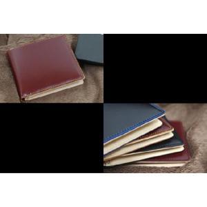 コードバン(馬尻革)×本ヌメ革 カード札入れ二つ折り財布(小銭入れ無し)/札入れ メンズ|saint|02