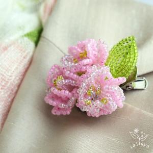 ビーズキット ビーズフラワー 八重桜のブローチ ビーズが咲いたよ|saitayo|02