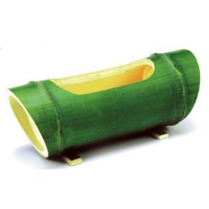 本物竹 花瓶 花入れ 筒形花器 横置き 斜め切り /緑竹|saitayo
