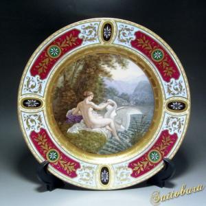 ウィーン風 ヴィエナスタイル 飾り皿 レダと白鳥 アンティーク saitobaru