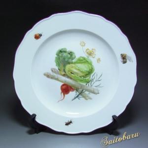 マイセン 皿 野菜絵 白磁 プレート 飾り皿  アンティーク 19世紀 saitobaru