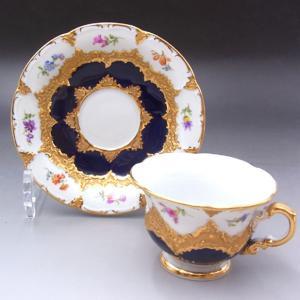マイセン 一級品 Bフォーム モカ コーヒーカップ&ソーサー グランツゴールド 宮廷の小花 アンティーク saitobaru