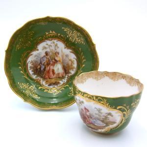 マイセン コーヒーカップ&ソーサー モカ  ワトー絵  グリーン  アンティーク 1880年代 saitobaru