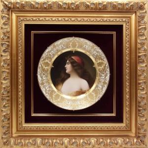 ロイヤル ヴィエナ 飾り皿 アスティの美人画 Una Gitana 金彩 額付き アンティーク saitobaru