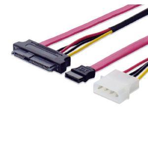 SAS/SATA⇔SATA、5インチ用4ピン電源変換ケーブル 30cm|saj-directstore