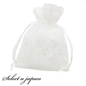 巾着袋 (11cm×14cm) オーガンジー 小花刺繍 ラッピング 包装 巾着ポーチ 小物入れ