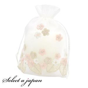 巾着袋 (15cm×20cm) オーガンジー 3色花刺繍 ラッピング 包装 巾着ポーチ 小物入れ