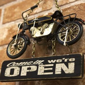 ブリキ看板 オープン ビンテージ バイク アメリカ雑貨 ハーレー ガレージ 世田谷ベース OPEN & CLOSED Bike|sakae-daikyo