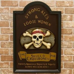 アンティークボード SKULL BONE スカルボーン アメリカ 雑貨 ウッドサイン サインプレート...