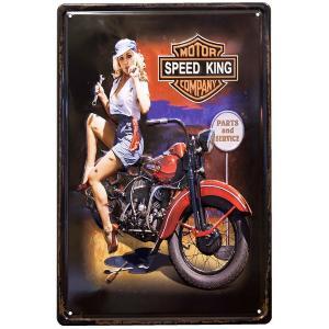 ブリキ看板 アンティーク ハーレー ダビッドソン ガレージ バイク SPEED KING|sakae-daikyo