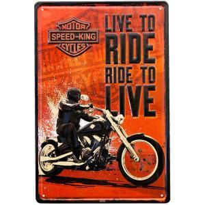 ブリキ看板 アンティーク ハーレー ダビッドソン ガレージ バイク RIDE LIVE|sakae-daikyo