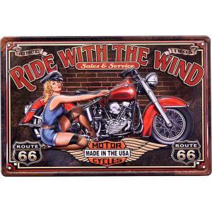 ブリキ看板 アンティーク ハーレー ダビッドソン ガレージ バイク RIDE WITH WIND|sakae-daikyo