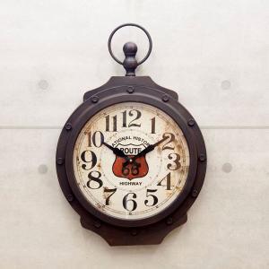 掛時計 アンティーク  ROUTE66 VINTAGE ビンテージ クロック ブラック|sakae-daikyo