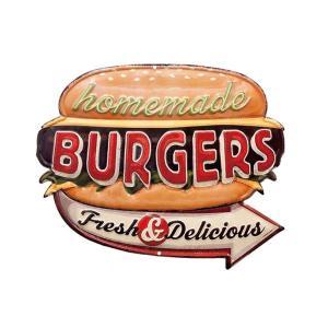 ブリキ看板 アンティーク ハンバーガー ショップ BURGERS HLHT119244|sakae-daikyo