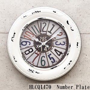 掛時計 掛け時計 大きい ナンバープレート ホワイト|sakae-daikyo