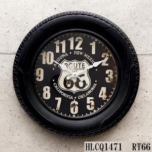 掛時計 掛け時計 大きい タイヤ クロック ROUTE66 ブラック アメリカ雑貨 ビンテージ 世田谷ベース アンティーク オールド ガレージ バイク sakae-daikyo