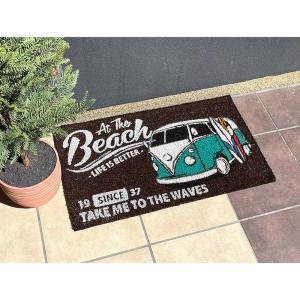 【玄関マット】MINIコイヤーマット<WELCOME BUS >ワーゲンバス  アメリカ雑貨 アメリカン ハワイ  サーフ ワーゲン フォルクスワーゲン クラッシックの写真