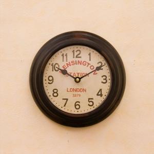 掛時計 ウォールクロック ラウンド 壁掛け時計  /ケンシントンステーションブラック