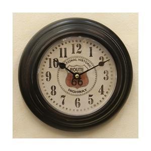 掛時計 ROUTE66 アメリカ雑貨 ビンテージ風 クロック アンティーク インテリア / プレステージクロックBlack sakae-daikyo