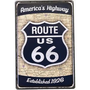 【メール便対応可】看板 Route66 ルート66(ロードサイン/ブラック) CMプレート アメリカ雑貨  ティンサインボード インテリア|sakae-daikyo
