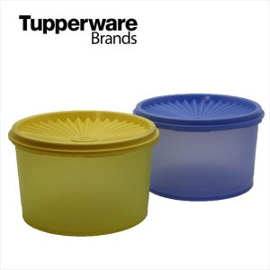 Tupperware タッパーウェア ミディ デコレーター S 2pc Set / color ブルー イエロー ビンテージ オールド レトロ|sakae-daikyo