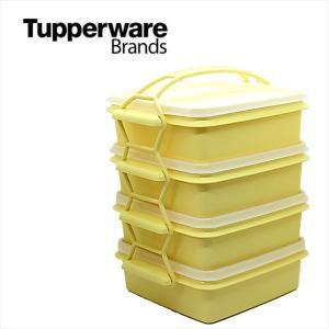 Tupperware タッパーウェア   Tupperware Brands  4段ランチBOX カルテット イエロー|sakae-daikyo