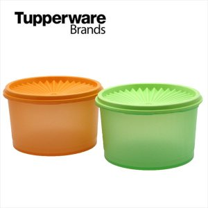 Tupperware タッパーウェア ミディ デコレーター アンティーク 2pc Set / color オレンジ グリーン ビンテージ オールド レトロ|sakae-daikyo