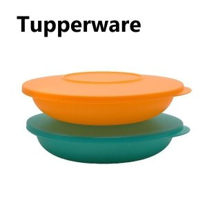 Tupperware タッパーウェア ディッシュ プレート 蓋つき2個セット/color オレンジ グリーン 新品 ビンテージ オールド レトロ Tupperware Brands|sakae-daikyo