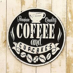 ブリキ看板 アンティーク エンボスプレート カフェ コーヒー 珈琲 ブラック アメリカ雑貨 [ダイカット Coffee Black]|sakae-daikyo