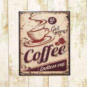 【メール便対応可】ブリキ看板 アンティークエンボスプレート S [Coffee] |sakae-daikyo