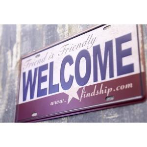 ブリキ看板 アンティーク[WELCOME]  サインプレート アメリカ雑貨   ティンサイン ライセンスプレート 世田谷ベース ガレージグッズ【メール便対応可】|sakae-daikyo
