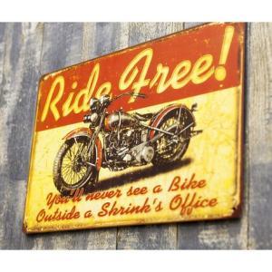 ブリキ看板 RIDE FREE  モーターサイクル  サインプレート アメリカ看板 バイク ハーレー 【メール便対応可】|sakae-daikyo