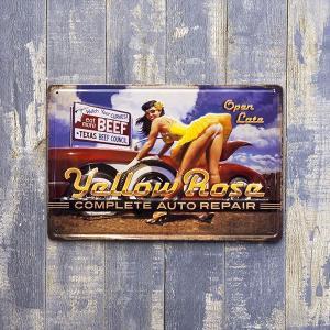 アンティークメタルプレート [Yellow rose] Z123 ブリキ看板  ヴィンテージ  ピンナップガール  アメリカ 雑貨  インテリア 世田谷ベース ガレージ グッズ|sakae-daikyo