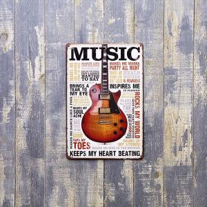 【メール便対応可】ブリキ看板 (S) [ Music] サインプレート アメリカ看板 ギター ロック アンティーク レトロ|sakae-daikyo