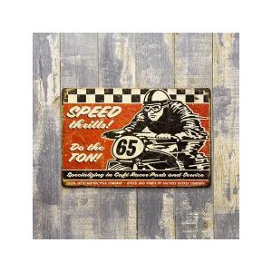 ブリキ看板 モーターサイクル サインプレート アメリカ看板 世田谷ベース ガレージ ハーレー SPEED65|sakae-daikyo
