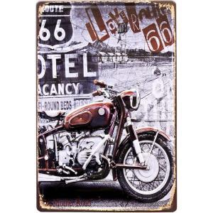 ブリキ看板 アンティーク ハーレー オールドバイク route66 ルート66 ガレージ アメリカ雑貨 / 66BIKE|sakae-daikyo